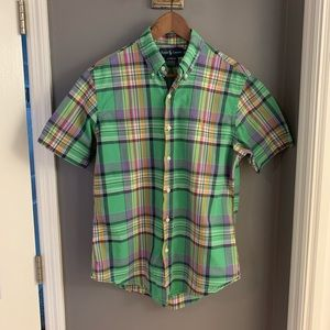 Green Plaid Polo Short Sleeve Dress Shirt